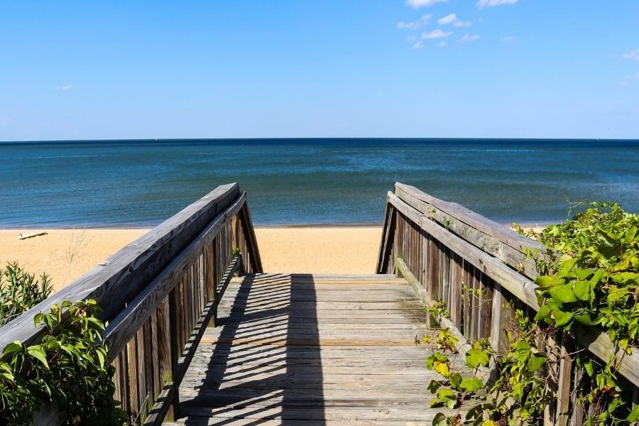 Walkway to Ocean View Beach in Norfolk, VA.