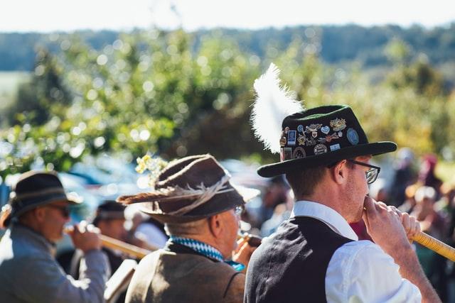 German men wearing lederhosen Oktoberfest