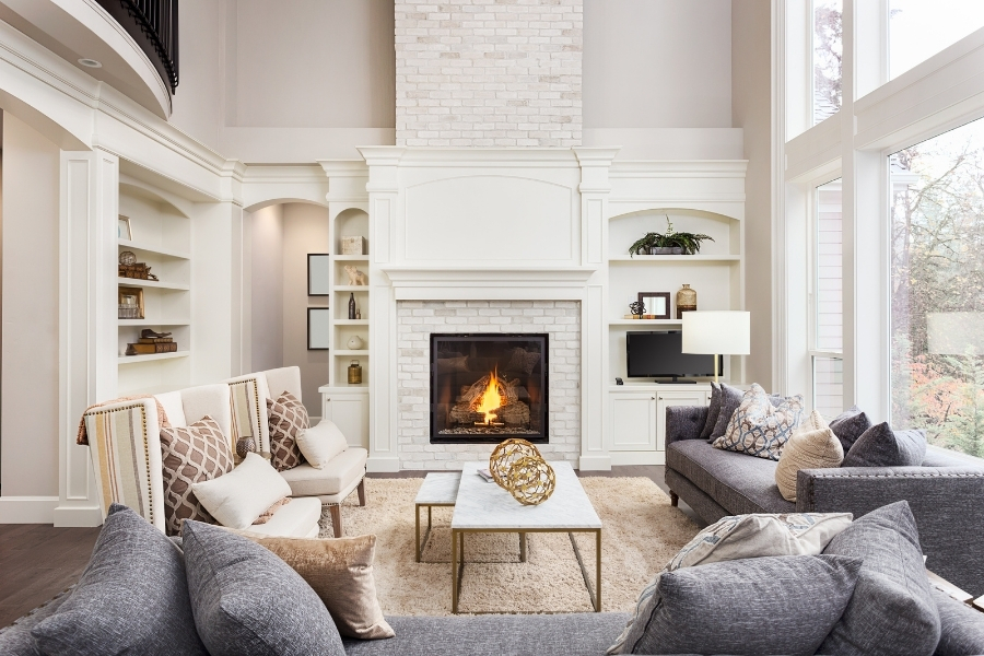 Clean and inspect the fireplace and chimney during fall home maintenance.