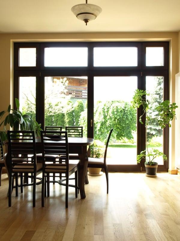 Interior of dining room overlooking the garden