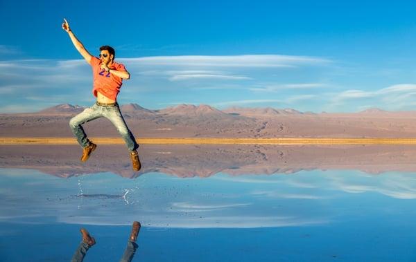 Amazing jump on Atacama Desert