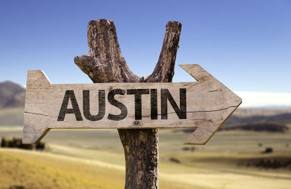 Austin wooden sign isolated on desert background