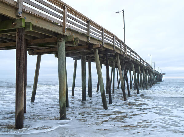 Fishing pier at Virginia Beach on an overcast morning