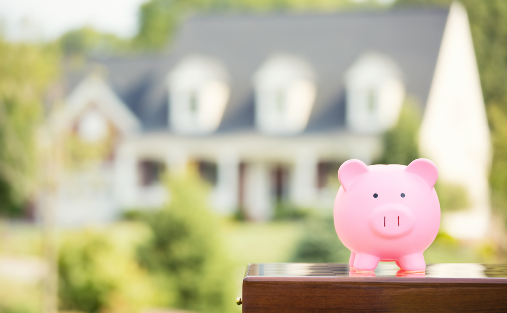Real estate sale, home savings, loans market concept. Housing industry mortgage plan and residential tax saving strategy. Piggy bank isolated outside home on background. Focus on piggybank. Homeowner-1