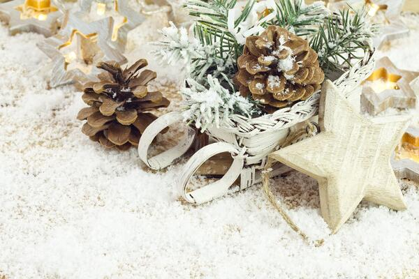 Dress up table tops with natural items for easy holiday decor.