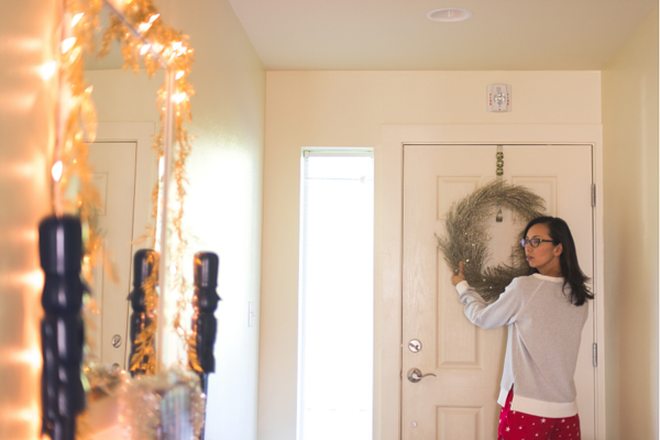 Use well placed seasonal decor while staging your home during the holidays.