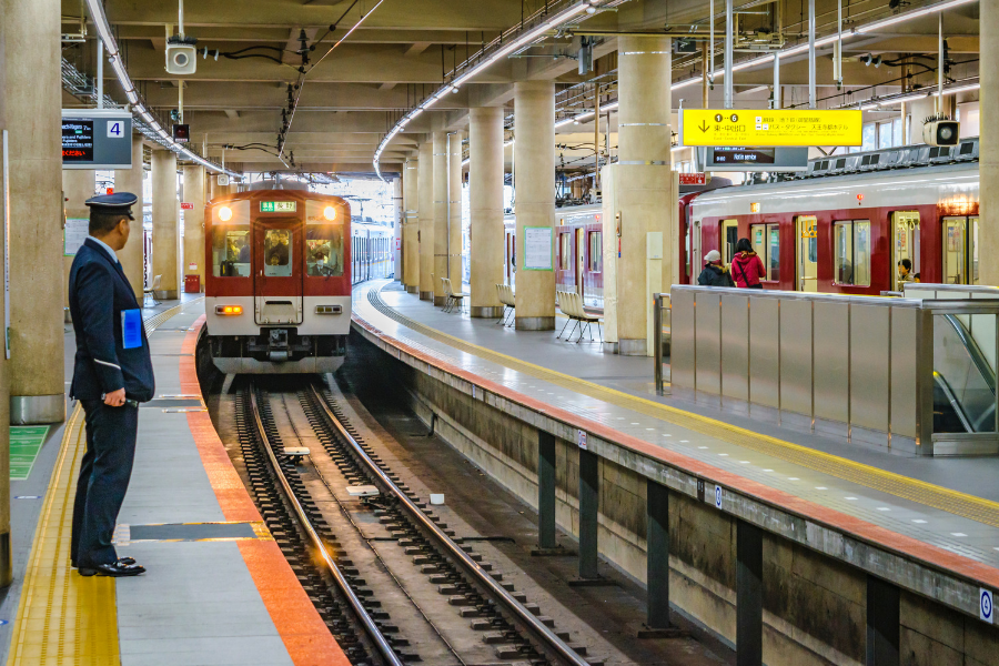 Train arriving at station in Japan