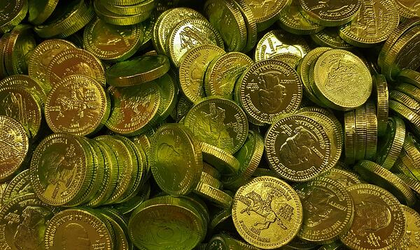 Coins for a shamrock themed treasure hunt.