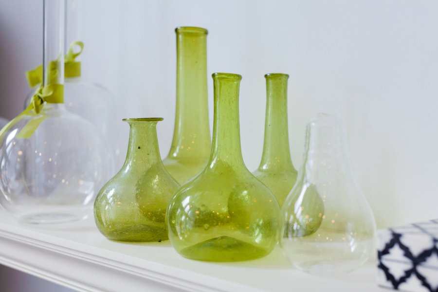 Green in your small decorating pieces adds a simple injection of color.